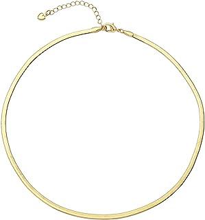 18k Gold Snake Chain Necklacefor Women Flat Herringbone Necklace Gold Choker Necklaces for Women Adjustable Simple Choker...