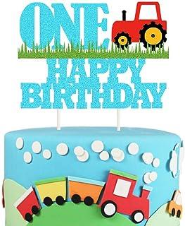Farm Tractor 1st Birthday Cake Topper, Glittery Happy Birthday Party Cake Decor, Farm Truck One Cake Topper Farmhouse Them...