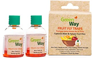 GreenWay Fruit Fly Trap (2 bottles) | Natural Liquid Attractant, Ready To Use Bottles | Safe, Non-Toxic with No Insecticides or Odor, Eco Friendly, Kid and Pet Safe