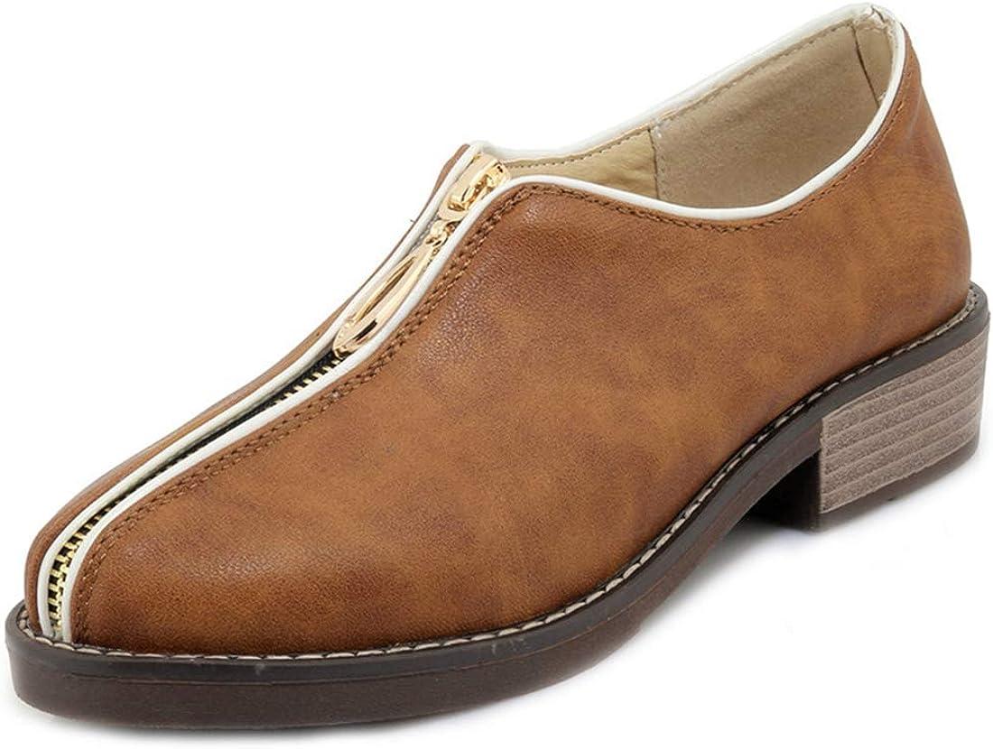 Regular store MISTU Women's Classic Oxford Shoes Round Comfort Low Regular dealer Toe Zipper
