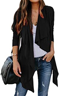 Womens Solid Long Sleeve Open Front Irregular Casual Cardigan Sweater