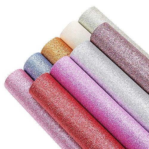 Sntieecr - Hojas de piel sintética con purpurina para hacer lazos de pelo, hacer pendientes y manualidades (32 x 22 cm, 9 colores)