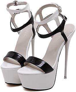6383a9d23b717a YOGLY Femme Escarpins Bride Cheville Sexy Talon Aiguille Plateforme Epais  Chaussures High Heels Club Soiree