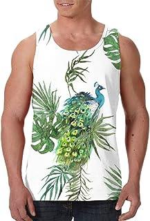 Men's Sleeveless Undershirt Summer Sweat Shirt Beachwear - Moths Butterflies Seamless