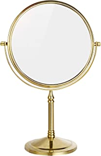 DOWRY 8-Inch Tabletop Two-Sided Swivel Vanity Mirror with 7X Magnification Gold Finish 2202J(10x)
