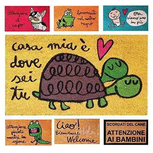 parpyon® Zerbino Ingresso casa Divertente Vulcano cm 40x70 Tappeto Antiscivolo entrata scalino per Interno da Esterno tappeti Moderni in Cocco (Casa)