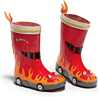 Kidorable Red Fireman Natural Rubber Rain Boots w/Fun Flame Pull On Heel Tab