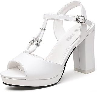 HWF レディースシューズ 女性の靴夏のサンダル女性のハイヒール ( 色 : 白 , サイズ さいず : 35 )