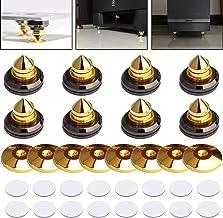 8 Set Golden-Plated Speaker Spikes, LAMPTOP Speaker Stands CD Audio Subwoofer Amplifier Turntable Isolation Feet Solid Bra...