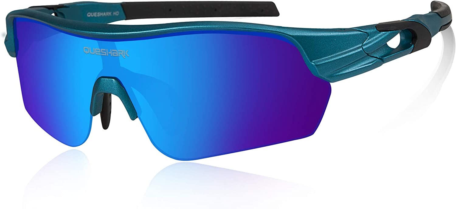 Queshark Polarized Sports Sunglasses with 4 Lenses for Cycling Running Fishing