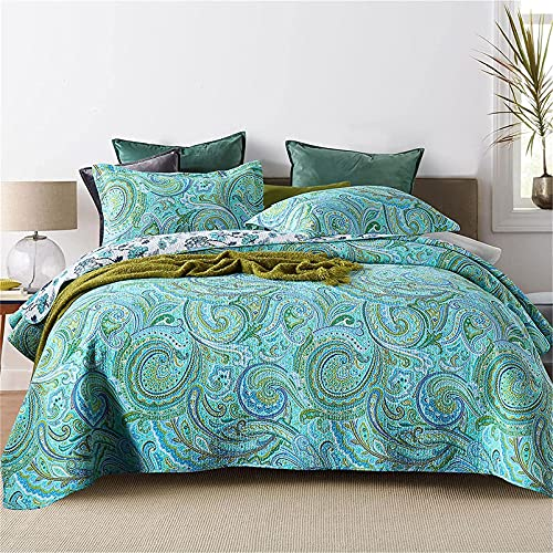 Juego de sábanas, 2021 Colchas acolchadas de paisley verde Colcha de cama con estampado floral de algodón de 3 piezas Colcha de edredón suave tamaño king de 230x250cm con 2 fundas de almohada 50x70cm