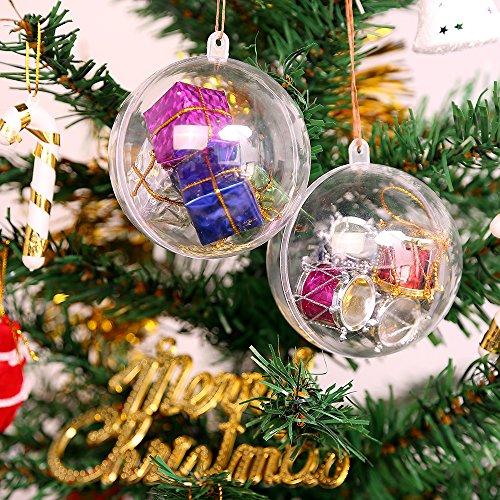 Trasparenti Palline di Natale Plastica Pallina Trasparente da Riempire Palline Sfere Apribili da Riempire Decorazione Natale per Albero Natale Addobbi per Matrimonio, Battesimo(Diametro 5 CM/20 Pezzi)