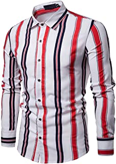HAMAMISE Tシャツ メンズ春カジュアルスリムフィットシャツストライプ長袖ボタンシャツトップブラウス おおきいサイズ 無地 オシャレ ブラウストップス 通気 速乾 通勤 運動