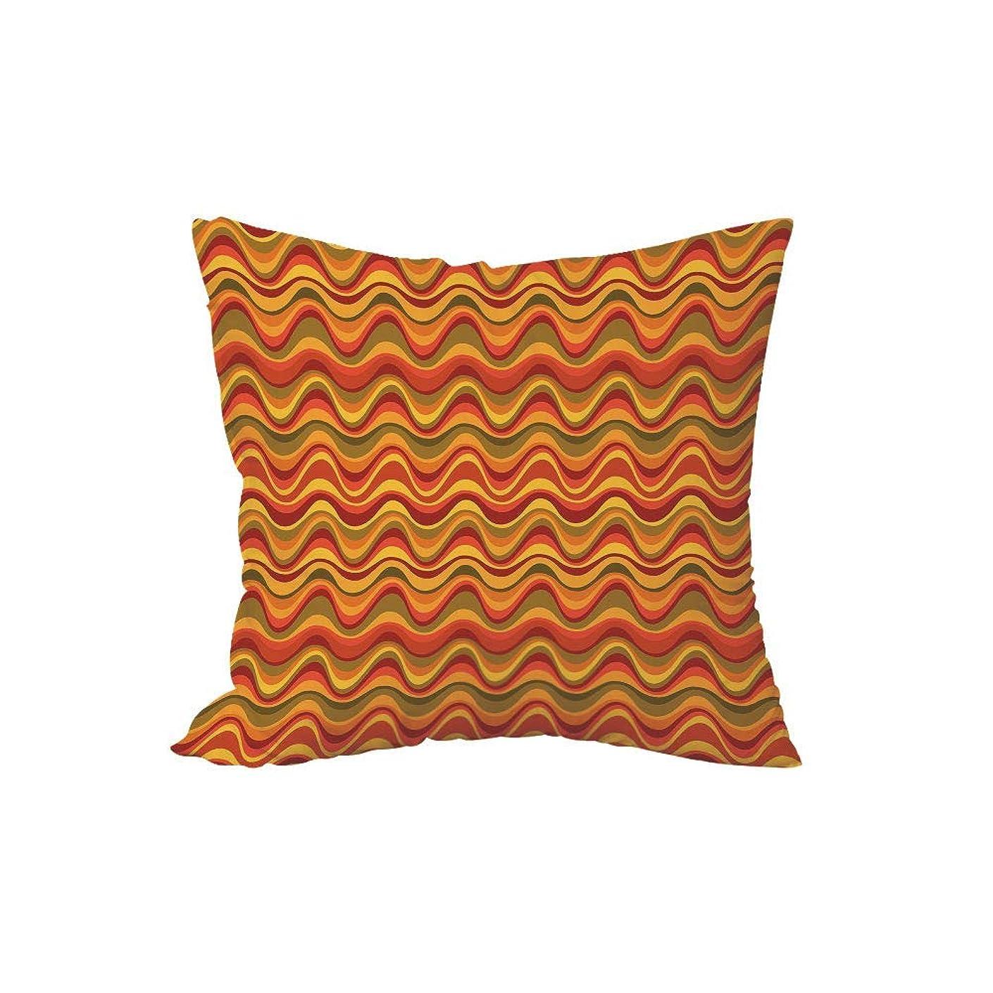 抗議スパンシェフポリエステル投球枕クッション、幾何学的な、砂漠の砂丘パターン抽象的デザイン暖かい色パレットファンキーなオールドスクールアートスタイル装飾的、多色、.x.es、用ソファ寝室車を飾るh \ w:18in * 18in