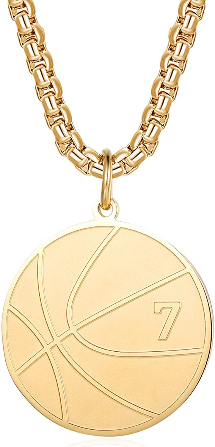 Basketball Number Necklace for Boys Gold Stainless Steel Basketball Pendant Sport Jewelry Gifts for Men