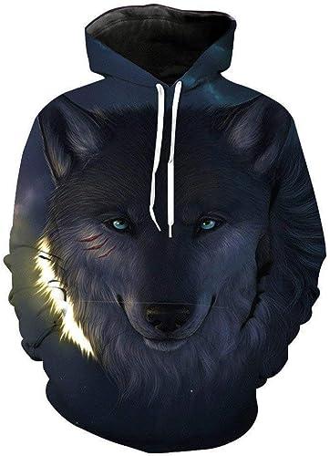 Sweat à Capuche Homme Femme Wolf Sweat à Capuche Imprimé Animal Homme Loup 3D Confortable Marques de Mode Sweat Hip Hop Unisexe Pull à Manches Longues Hiver (Couleur  Blanc, Taille  4XL)