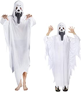 Halloween Ghost Costume Robe Scary Face Mask Hooded Dress up Witch Cape Outfit