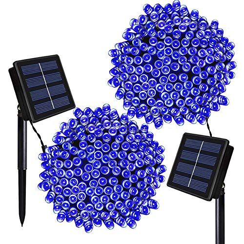 Solarmks Solar Christmas Lights ,72ft 8 Modes 200 LED Solar String Lights Outdoor Waterproof Fairy Solar Lights for Christmas Garden Patio Wedding Party Home Xmas Tree Decorations(Blue 2pack)