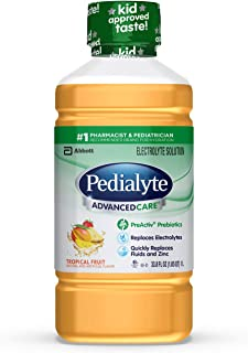Pedialyte AdvancedCare Electrolyte Solution,1 Liter, 4 Count, with PreActiv Prebiotics, Hydration Drink, Tropical Fruit