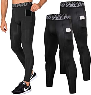 Lavento Men's Compression Pants Baselayer Cool Dry Pocket Running Ankle Leggings Active Tights