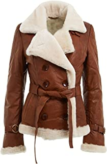 Women's Tan Double Breasted Real Shearling Sheepskin Leather Pea Coat