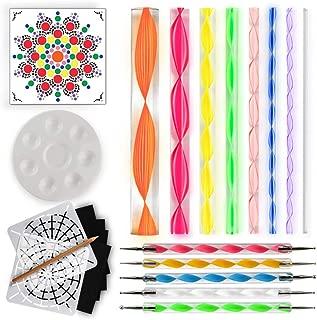 Mandala Dotting Tools for Painting Rocks - Plus Stencil, White Pencil, Paint Tray, Pattern
