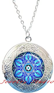 Moroccan Tile Design Glass Locket Necklace, Moorish Design Locket Necklace, Blue and Turquoise Locket Necklace Blue Locket Necklace Symbolic jewelry-HZ00332