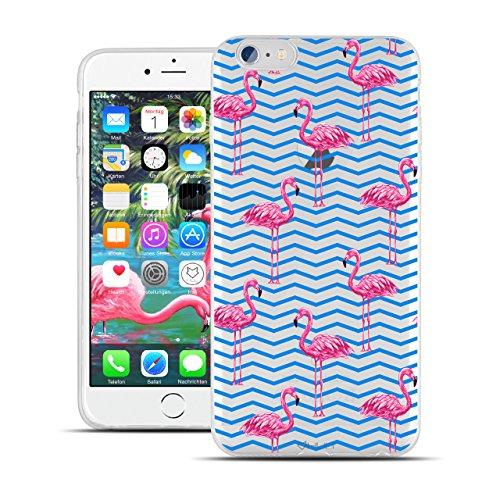 HULI Design Hülle Hülle für Apple iPhone 6 / 6s Handy im Flamingo Design - Handyhülle aus TPU Silikon - Schutzhülle klar mit Animal Tier Muster - Transparent & Slim für Dein Smartphone