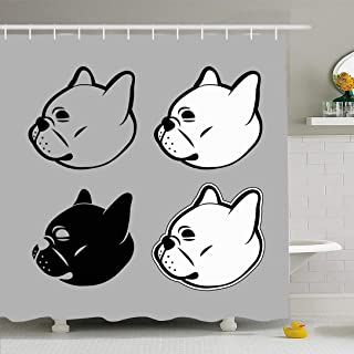Ahawoso Shower Curtain Set with Hooks 72x78 Puppy Pet French Set Simple Design Head Color Animal Outline Bulldog Graphic Animals Face Wildlife Waterproof Polyester Fabric Bath Decor for Bathroom