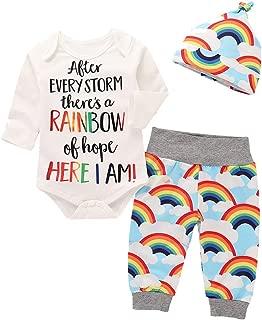 Rainbow Romper Jumpsuit+Pants+Hat Autumn Winter Outfits for Newborn Infant Baby Girls Boys