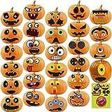 Halloween Pumpkin Sticker 28pcs Pumpkin Decorating Stickers for Kids Halloween Pumpkin Face Craft