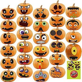 Halloween Pumpkin Sticker 28pcs Pumpkin Decorating for Kids Halloween Pumpkin Face Stickers Craft