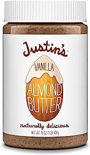 Justin's Vanilla Almond Butter by Justin's, Gluten-Free, Non-GMO, Vegan, Sustainably Sourced, 16oz Jar