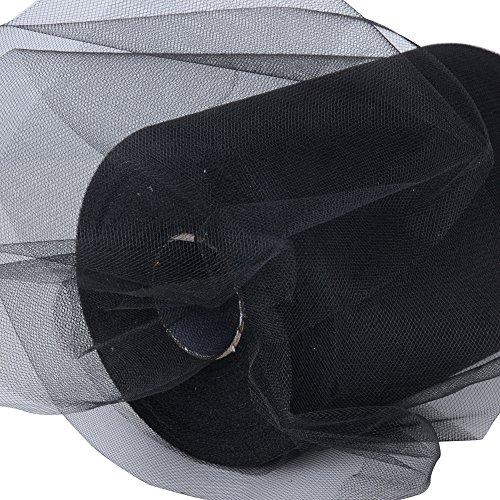 91m*15cm Rollos de Tul Carrete de Tulle Negro Decoración Boda Fiesta Cumpleaños Halloween Carnaval Bricolaje 100 yardas (Negro)