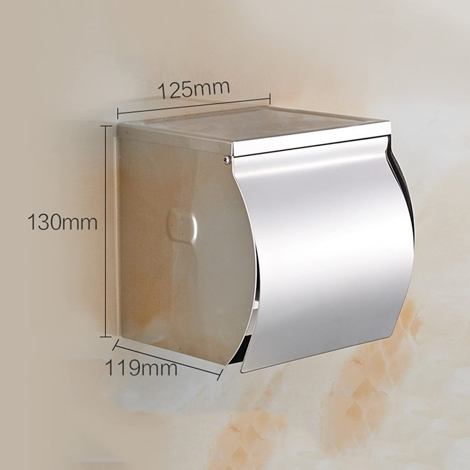 WENZHE Over Toilet Bathroom Toilet Roll Holder Storer Wall Mounted Tissue Box Waterproof Clamshell Stainless Steel, 4 Sizes Storage Racks Unit (color   B-125  119  130mm)