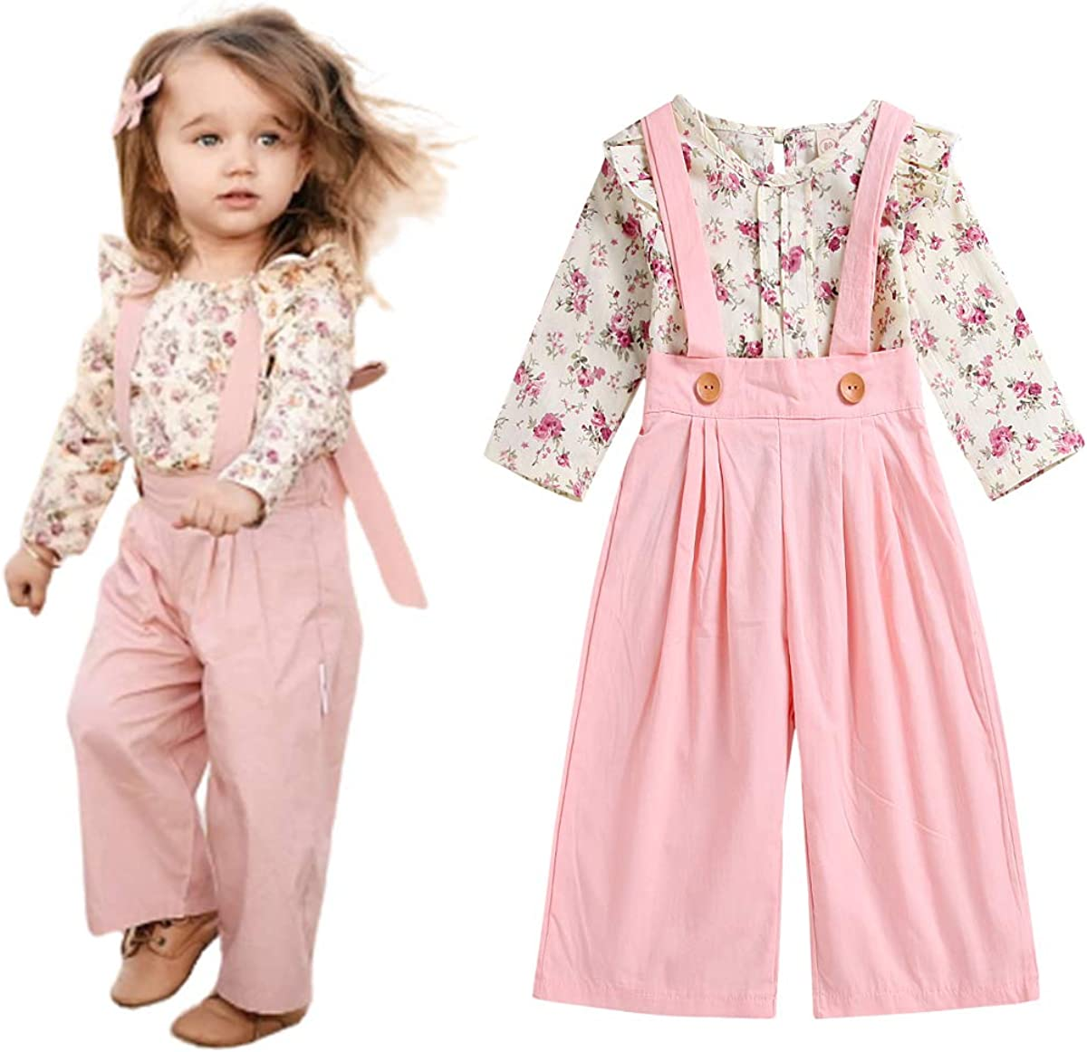 Toddler Baby 5% OFF Girl Skirt Sets Ruffle Overalls Outfit Floral Ranking TOP19