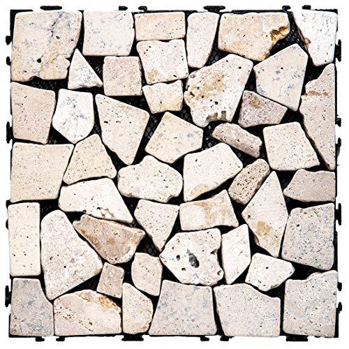 タンスのゲン 天然石 タイル 6枚セット ジョイントタイル 30×30cm カット可能 簡単設置 ホワイト 42300023 00 【73445】
