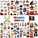 UniBetter 990 Stück Piraten Tattoo Set Kindertattoos Piraten temporäre Tattoo für Kinder Jungen Mädchen Party Kindergeburtstag Geschenktüten Piraten Party Favors Zubehör