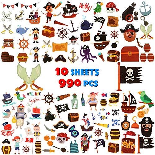 UniBetter 990 Piezas Pirata Tatuajes temporales para Niños Niñas Regalos Piratas Favores de la Fiesta de cumpleaños