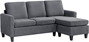 Sofa Sectional Sofa Furniture Set Futon Sofa Modern Convertible L-Shaped Couches Sofa Set Fabric Sofa Corner Sofa with Upholstered Contemporary for Living Room (Grey)