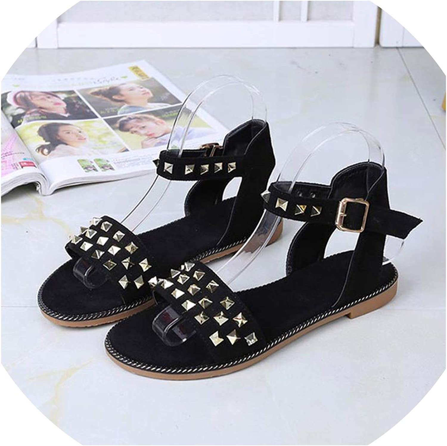 Merry-Heart Sandals Womens Solid Comfort Beach Flats shoes for Woman,