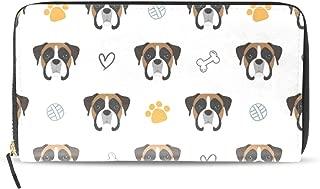 Wallet Long Clutch Funny Boxer Dog Pets Zipper Purse PU Leather Card Holder Organizer