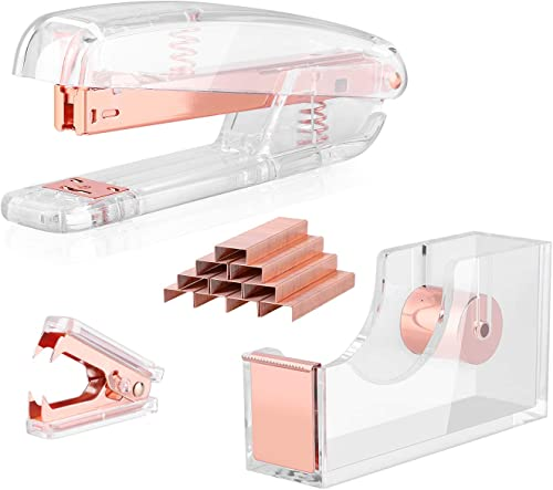 ALSISK Desk Accessory Kit,Acrylic Stapler Set, Tape Dispenser, Staple Remover with 1000pcs 26/6 Staples -Rose Gold