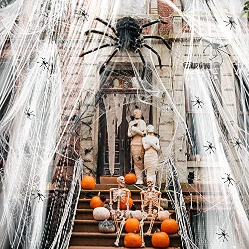 Hidreams 300 g di ragnatele per Halloween, decorazione per feste, 60 ragni, 100 metri quadrati, per ragni, decorazione di carnevale, per la casa e il giardino