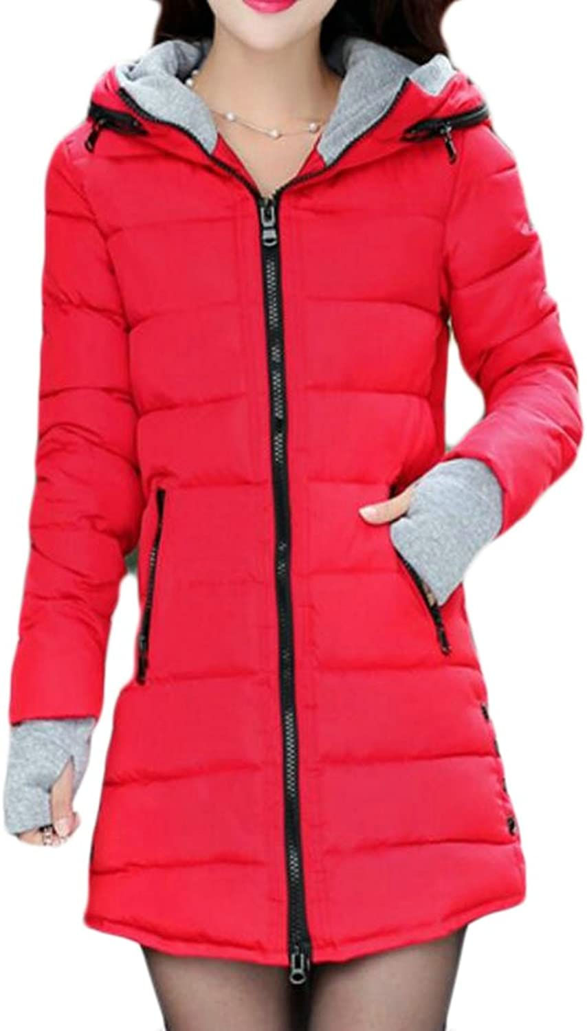 Cromoncent Womens Zipper Warm Thick Quilted Hooded Outerwear Parka Coat