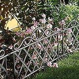 garden mile Dekorativ Viktorianischer Stil Garten Zaun Rasen Rändung schwarz oder weiß Lattenzaun,Schmiedeeisen Optik Grenze Umzäunung Platten Rand für Rasen,Ränder,Blumen Betten und...