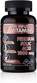 LIV Premium Folic Acid 1000 Mcg Tablets | The Essential Water-Soluble Vitamin That Plays a Role in So Many Aspects of Health | Boost Your Folate Levels with an Organic Prenatal B9 Vitamin Supplement