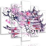 Feeby Frames, Quadro multipannello di 5 Pannelli, Quadro su Tela, Stampa Artistica, Canvas Tipo A, 70x100 cm, CILIEGIO Giapponese, Astratto, Viola
