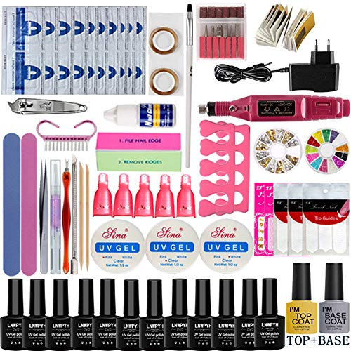 54/48/36W UV Lamp 12 Kleur Soak Off Gel Nail Top Coat Gel Nagellak Kit Manicure Set Nagellak Elektrische Manicure Handvatkit nolamp