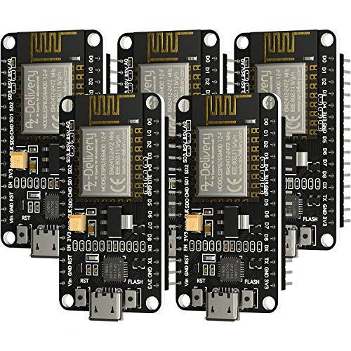 AZDelivery 5 x NodeMCU Lua Amica Modul V2 ESP8266 ESP-12F WIFI Wifi Development Board mit CP2102 inklusive E-Book!